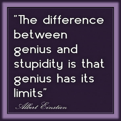 """""""The difference between genius and stupidity is that genius has its limits."""""""