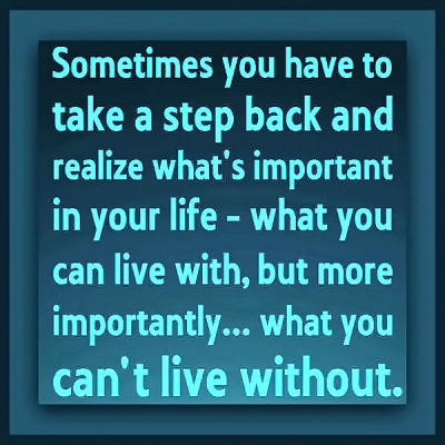 """""""Sometimes you have to take a step back and realize what's important in your life -- what you can live with, but more importantly.... what you can't live without."""""""