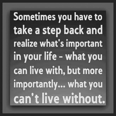 """Sometimes you have to take a step back and realize what's important in your life -- what you can live with, but more importantly.... what you can't live without."""
